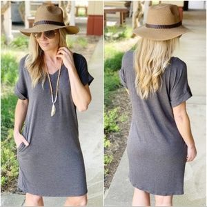 Infinity Raine Dresses - Charcoal V Neck Tee Shirt Dress